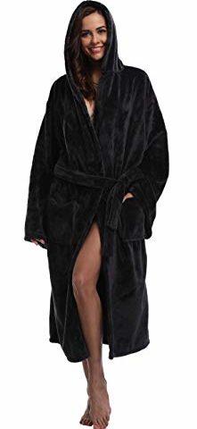 1e47207a44 Women s Long Hooded Velvet Bathrobe Ultra-Soft Winter Fleece Plush  Nightgown · Cozy Robes ...