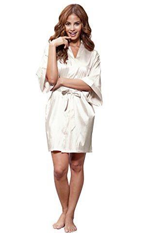 ff1fd13794 Turquaz Linen Women s Pure Color Satin Short Kimono Bridesmaids Lingerie  Robes