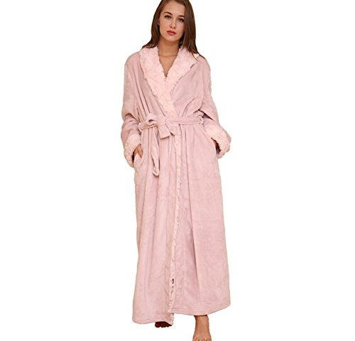 b5683677803eb SUNBABY Thicker Long Flannel Sleepwear Women Man Imitation Fur Collar  Bathrobes Warm Couple Pajamas