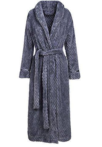 Womens Robe Long Fleece Bathrobe Warm Waist Belt Super Soft Spa Plush Full  Length Bath Robe with Shawl Collar ff16d4147