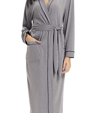 ac52846cd8cc Aibrou Women s Cotton Knit Long Kimono Robe Spa Bathrobe Soft Sleepwear