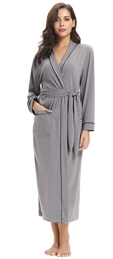 Aibrou Women S Cotton Knit Long Kimono Robe Spa Bathrobe