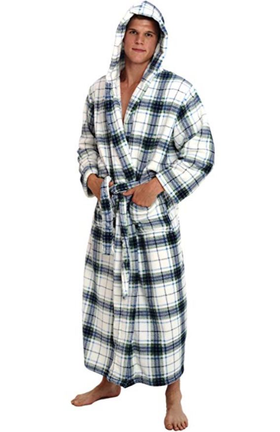 2588403e5bf Alexander Del Rossa Mens Fleece Plaid Robe