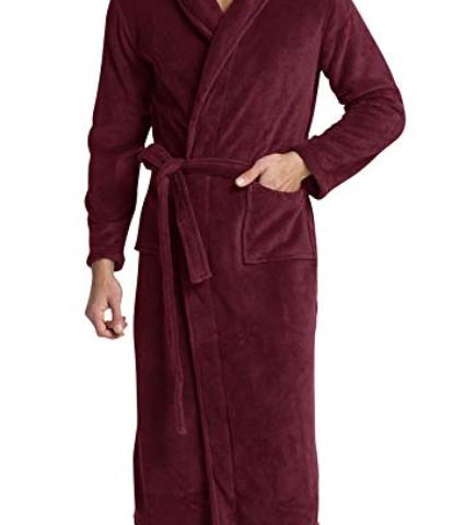 34fe752a56 Men s Fleece Bathrobe Long Shawl Collar Plush Robe
