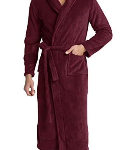 378daeb27e6 Men s Fleece Bathrobe Long Shawl Collar Plush Robe