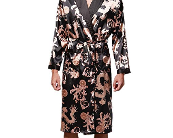 VERNASSA Mens Satin Robe Silk Long Sleeve Kimono Bathrobe Sleepwear  Loungewear 6e0cb822c