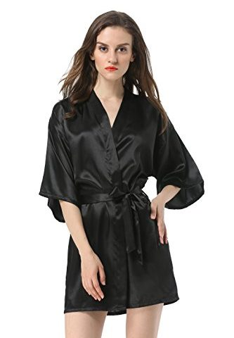 Vogue Forefront Women s Satin Plain Short Kimono Robe Bathrobe 5d098a02c
