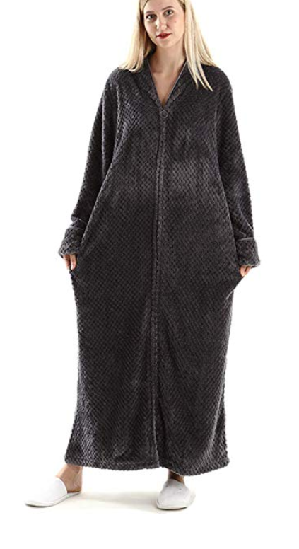 a8a41caa27c2 Womens Fleece Warm Robe,Cozy Fluffy Long Bathrobe,Plush Night ...